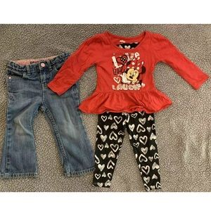 😍MINNIE MOUSE 24 mo matching outfit and jeans